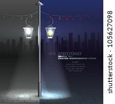 Vector Streetlight at Night. Background - stock vector