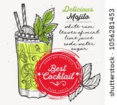 cocktail mojito for bar menu.... | Shutterstock .eps vector #1056281453