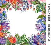 watercolor floral background....   Shutterstock . vector #1056294353
