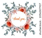 thank you card with pink gold...   Shutterstock .eps vector #1056307937