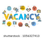 cartoon vacancy concept card... | Shutterstock .eps vector #1056327413