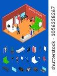photo studio interior with... | Shutterstock .eps vector #1056338267
