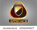gold shiny emblem with armor... | Shutterstock .eps vector #1056344027