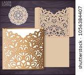 die laser cut wedding card... | Shutterstock .eps vector #1056384407