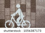 bicycle sign on the ground for... | Shutterstock . vector #1056387173