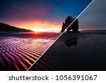 awesome dark sand after the... | Shutterstock . vector #1056391067