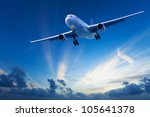 Evening flight - stock photo