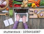 healthy organic vegetables on a ...   Shutterstock . vector #1056416087