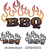 Distressed BBQ/Barbecue Text Graphic - stock vector