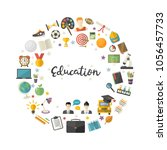 education icon set in circle in ... | Shutterstock .eps vector #1056457733