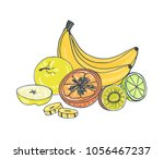 whole and cut exotic juicy... | Shutterstock .eps vector #1056467237