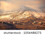 Small photo of Beautiful view of the valley and high mountains in fog, Lebanon. Mount Lebanon, Bsharri District. Snow mountains