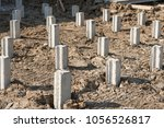 concrete piles foundation under ... | Shutterstock . vector #1056526817