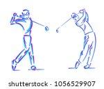golfer swing on golf course.   Shutterstock .eps vector #1056529907
