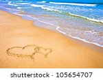 Two Hearts Drawn On The Sand O...