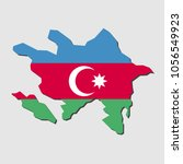 map of azerbaijan with flag ... | Shutterstock .eps vector #1056549923