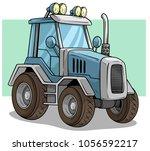 cartoon blue big agriculture... | Shutterstock .eps vector #1056592217
