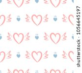 repeated hearts with crowns and ... | Shutterstock .eps vector #1056645197