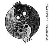 yin yang symbol with skulls of... | Shutterstock . vector #1056665963
