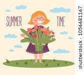 cute barefoot girl in dress... | Shutterstock .eps vector #1056681167