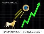 gold bull  throwing up nanjcoin ... | Shutterstock .eps vector #1056696137