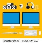 vector flat computer monitor | Shutterstock .eps vector #1056724967