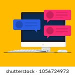 vector flat computer monitor.... | Shutterstock .eps vector #1056724973