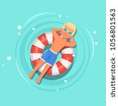man swims  tanning on life buoy ... | Shutterstock .eps vector #1056801563