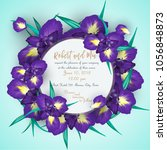 iris flower wedding invitation... | Shutterstock .eps vector #1056848873