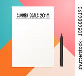 summer goals 2018 empty list... | Shutterstock .eps vector #1056886193