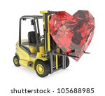Fork lift truck lifts heart cut ruby, isolated on white background - stock photo