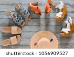 set of womens shoes  wedges ... | Shutterstock . vector #1056909527