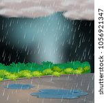 background scene with rain in... | Shutterstock .eps vector #1056921347