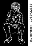 vector art drawing of the fat... | Shutterstock .eps vector #1056922853