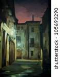 ancient Gothic quarter in Barcelona at night, painting, illustration - stock photo