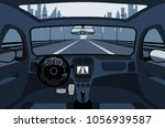 car on the road  a view from... | Shutterstock .eps vector #1056939587