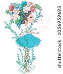 Stock vector cute girl illustration in flowers 1056959693