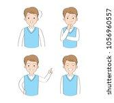 set actions cartoon cute... | Shutterstock .eps vector #1056960557