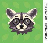 racoon emotional head. vector... | Shutterstock .eps vector #1056965513