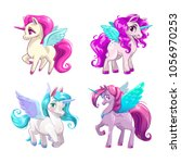 little cute cartoon pegasus... | Shutterstock .eps vector #1056970253