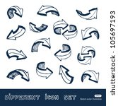 arrows web icons set. hand... | Shutterstock .eps vector #105697193