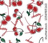 cherry vector art red green  | Shutterstock .eps vector #1056985163