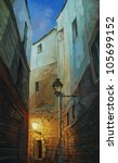 night in Gothic quarter of Barcelona, painting,illustration - stock photo
