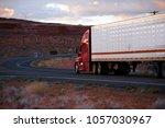 big rig american modern red... | Shutterstock . vector #1057030967
