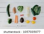 flat lay of arranged fresh... | Shutterstock . vector #1057035077