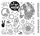 love you music. beautiful girl. ... | Shutterstock .eps vector #1057045583