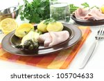 green asparagus with...   Shutterstock . vector #105704633