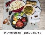 indian food chicken tikka grill ...   Shutterstock . vector #1057055753