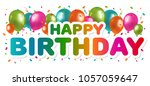 happy birthday greetings with... | Shutterstock .eps vector #1057059647