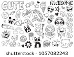 a set of graffiti doodles... | Shutterstock .eps vector #1057082243
